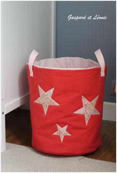 Sac à linge ou sac à jouets Corail et étoiles Liberty Adelajda Soleil