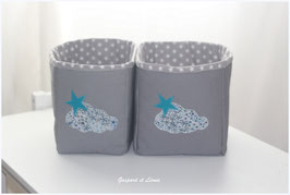 Duo de corbeilles de toilette grise et Liberty Adeladja bleu