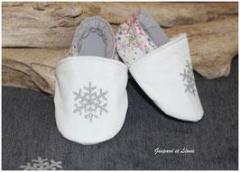 *EDITION DE NOEL* Chaussons molletonnés Liberty Adelajda Rose et Flocon de neige