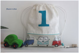 "Sac à dos pochon ""1 vert canard"" en coton et Lin enduits Combi Van VW"