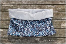 Snood Liberty Wiltshire bleu gris, polaire grise 2-6 ans