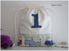 "Sac à dos pochon ""1 bleu"" en coton et Lin enduits Combi Van VW"