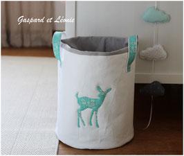 Sac à linge ou sac à jouets blanc Faon Liberty Capel vert turquoise