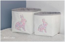 Corbeilles blanches doublées de gris et lapin Liberty Betsy Buvard