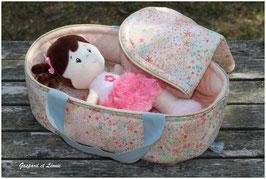 Couffin + Parure pour poupée Liberty Adelajda Soleil et Jersey Rose Saumon