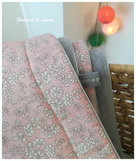 Couverture plaid Liberty Capel Rose Nude et Jersey matelassé gris