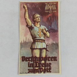 WHW 1935/36 paper vignette - verschworen in Treue zum Volk