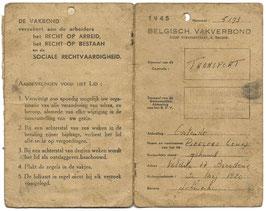 Belgisch civiel vakbondsboekje - 1945