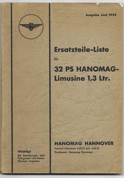 Ersatzteile-Liste für 32 PS HANOMAG-Limusine 1,3 Lrt. - 1939