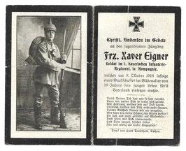 Doodsprentje 'Frz. Xaver Eigner'