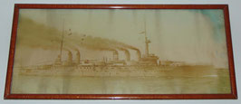 Framed photograph of french battleship 'Diderot'