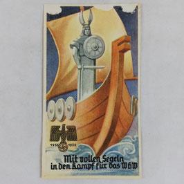 WHW 1935/36 paper vignette - Mit vollen Segeln in den Kampf für das WHW