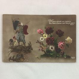 French Postcard 'La France connait son histoire: Ses Fleurs sont Fleurs de gloire!'