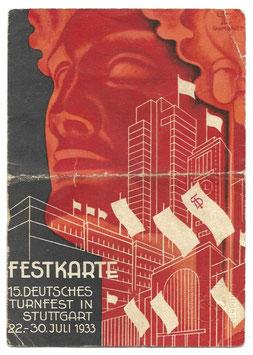 Festkarte - 15. Deutsches Turnfest in Stuttgart 22.-30. Juli 1933