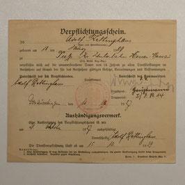'Verplichtungsschein' german army 1927