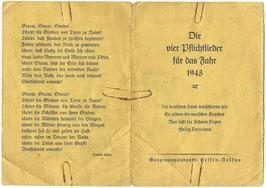 Duitse folder 'Die vier Pflichtlieder für das Jahr 1943'