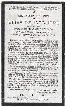 Doodsprentje 'Elisa De Jaeghere'