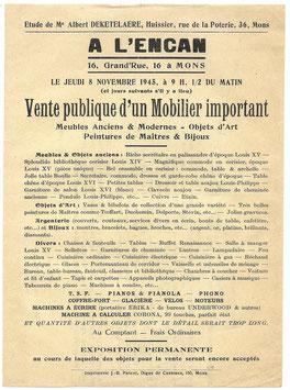 Pamflet - Vente publique d'un Mobilier important - 1945