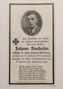 Deathcard of 'Johann Brecheisen'