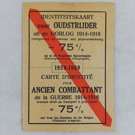 Kortingskaart Belgische spoorwegen - Identiteitskaart voor oudstrijder uit de oorlog 1914-1918