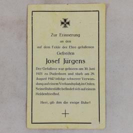 Deathcard of 'Josef Jürgens'