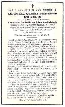 Doodsprentje 'Christiaan-Gustaaf-Philomena De Belie'