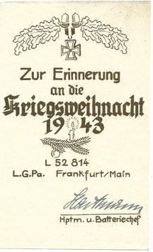 Zur Erinnerung an die Kriegsweihnacht - 1943