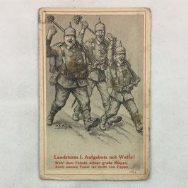 German postcard 'Landsturm I. Aufgebot mit Waffe'