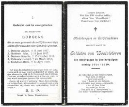 Rouwgedachtenis - oorlogsslachtoffers van Westvleteren