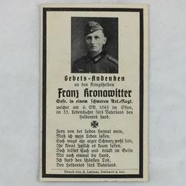 Deathcard of 'Franz Kronawitter'