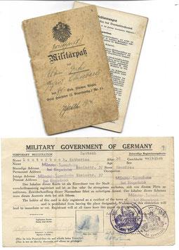 Militärpaß - '2. Eskadron Ulanen-Regt. Nr. 11' & bijkomend document 1945