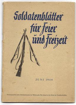 Soldatenblätter für Feier und Freizeit - Juni 1940