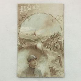 French Postcard 'Bonjour'