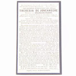 Doodsprentje 'Theresia De Jonckheere'