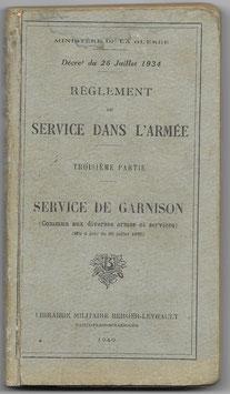 Armée française - Règlement du service dans l'armée - 1940