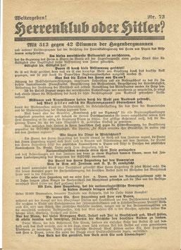 NSDAP-verkiezingsblad - Herrenklub oder Hitler?' - jaren '30