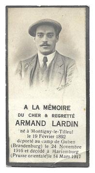 Doodsprentje 'Armand Lardin'
