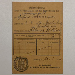 Receipt for payed insurance contributions 1911