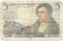 Frans geld - Cinq Francs - 1943
