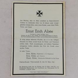 Death notice of 'Ernst Erich Abée' - 1942