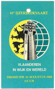 Herkenningsteken '61ste Ijzerbedevaart' - 1988