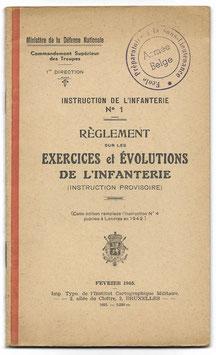 Belgische leger - Instruction de l'infanterie N°1 - Règlement sur les exercices et évolutions de l'infanterie