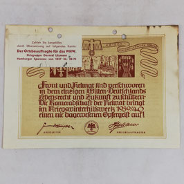 Winterhilfswerk' donation receipt - 1939/40