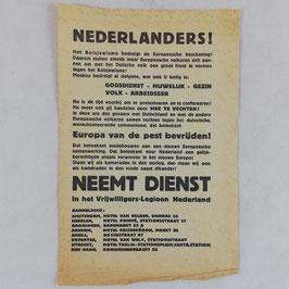 Recruteringsblad 'Vrijwilligers-Legioen Nederland' - Nederlanders! Neemt dienst