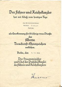 Oorkonde 'Silberne Treudienst Ehrenzeichen für 25 Jahre' - 1939