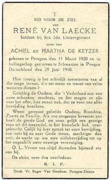 Doodsprentje 'René Van Laecke'
