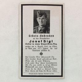 Deathcard of 'Josef Sigl'