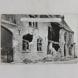 Guerre de 1914 - Pervyse (Belgique) La Maison Communale détruite par le bombardement