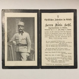 German deathcard of 'Alois Heßl'