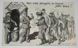 Postcard - 'Nur nicht drängeln, es kommt jeder dran!''